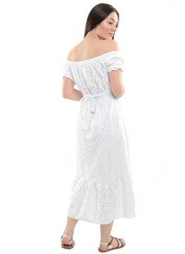 Reyon Kayık Yaka Kol Büzgülü Elbise Lacivert Beyaz